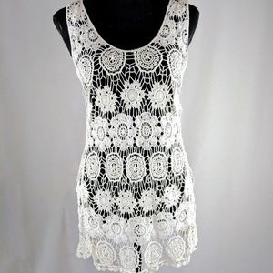 Solitaire White Crochet Tank Top